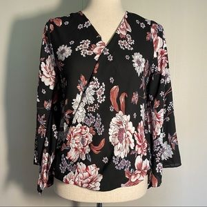 A. Byer Floral Wrap blouse with Flutter sleeves